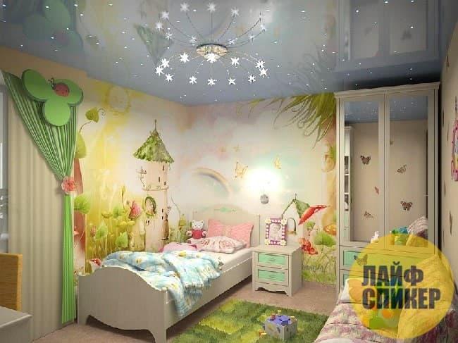 Идеи для подвесного потолка детской комнаты для девочек